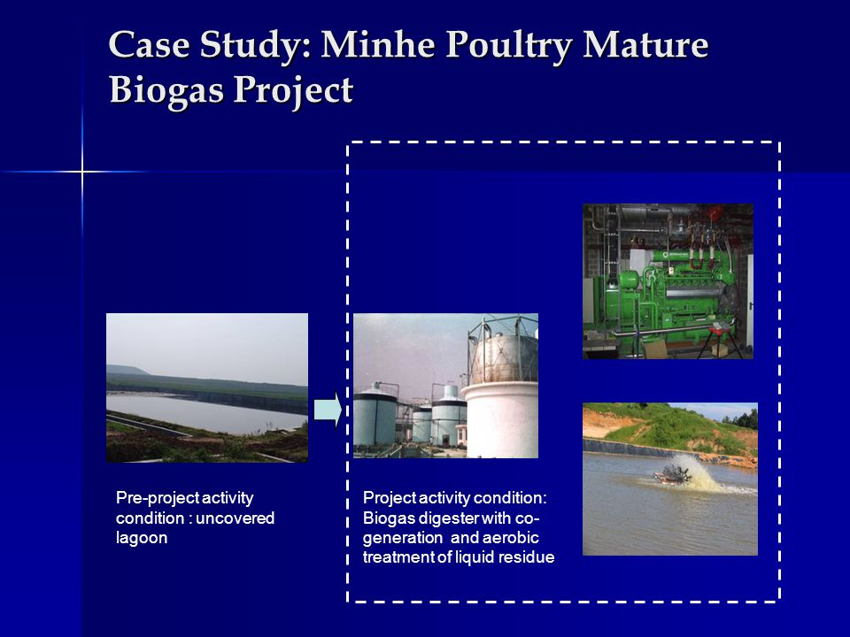 Case Study: Minhe Poultry Mature Biogas Project Pre-project activity condition : uncovered lagoon Project activity condition: Biogas digester with co- generation and aerobic treatment of liquid residue