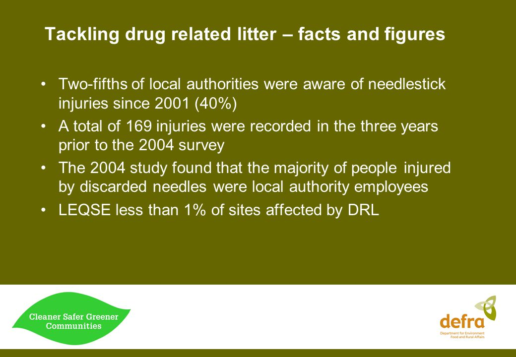 Tackling drug related litter - Recommendations Training and briefing should be provided for all those who will potentially come into contact with drug litter.