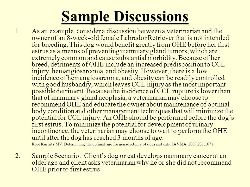 Sample Discussions 1.As an example, consider a discussion between a veterinarian and the owner of an 8-week-old female Labrador Retriever that is not intended for breeding.