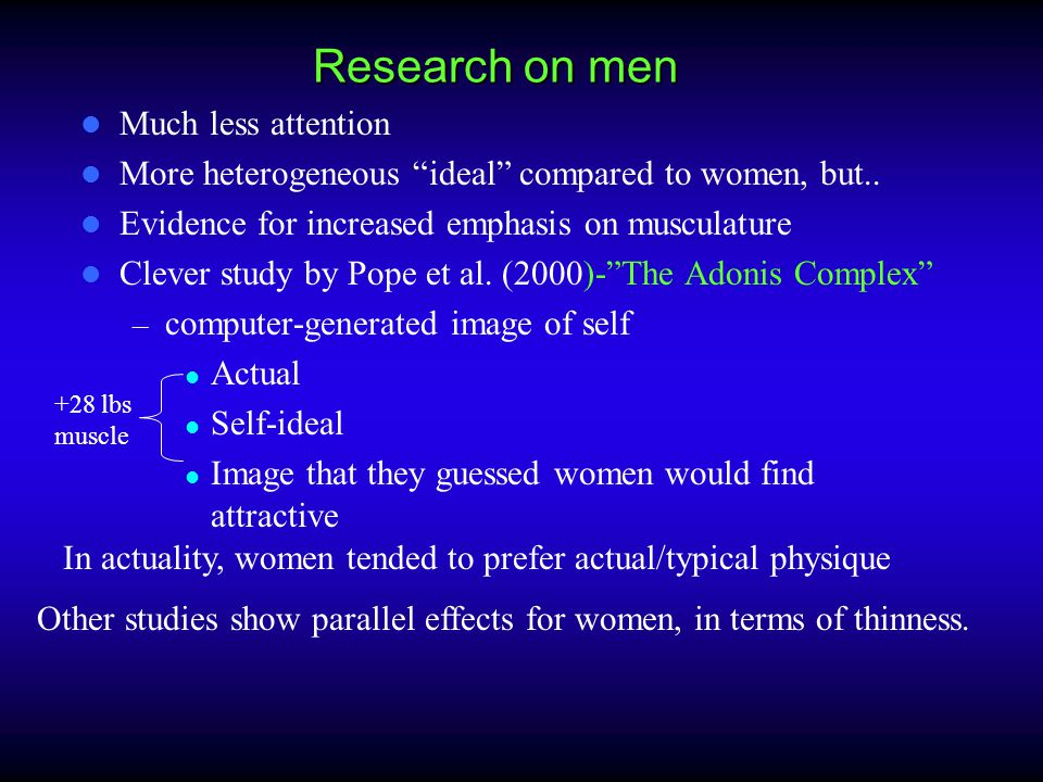 "Research on men Much less attention More heterogeneous ""ideal"" compared to women, but.. Evidence for increased emphasis on musculature Clever study by"