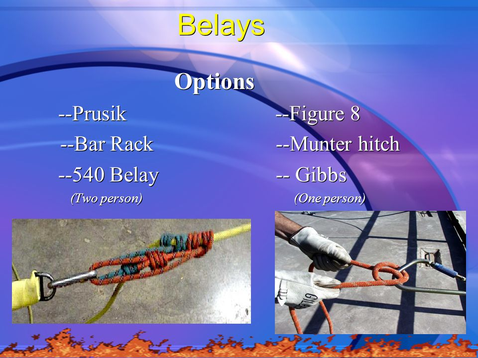 Belays Options --Prusik --Figure 8 --Bar Rack --Munter hitch --540 Belay -- Gibbs (Two person) (One person) Options --Prusik --Figure 8 --Bar Rack --Munter hitch --540 Belay -- Gibbs (Two person) (One person)