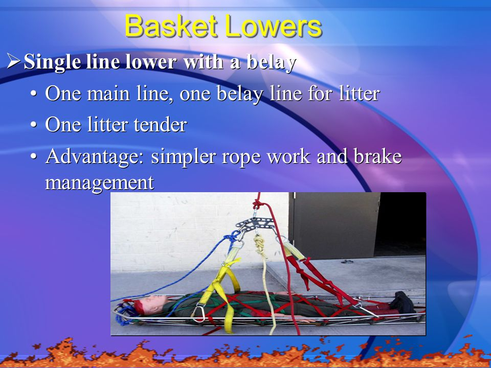 Basket Lowers  Single line lower with a belay One main line, one belay line for litter One litter tender Advantage: simpler rope work and brake management  Single line lower with a belay One main line, one belay line for litter One litter tender Advantage: simpler rope work and brake management