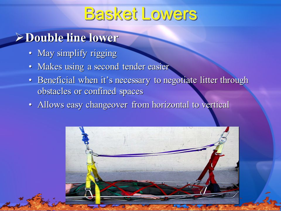 Basket Lowers  Double line lower May simplify rigging Makes using a second tender easier Beneficial when it's necessary to negotiate litter through obstacles or confined spaces Allows easy changeover from horizontal to vertical  Double line lower May simplify rigging Makes using a second tender easier Beneficial when it's necessary to negotiate litter through obstacles or confined spaces Allows easy changeover from horizontal to vertical