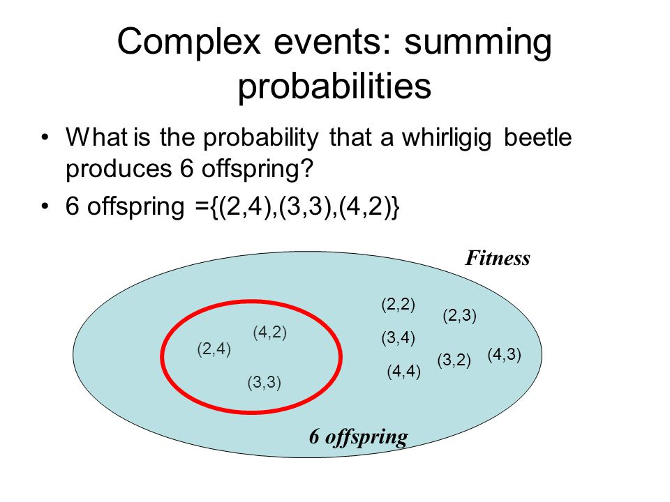 Complex events: summing probabilities What is the probability that a whirligig beetle produces 6 offspring.