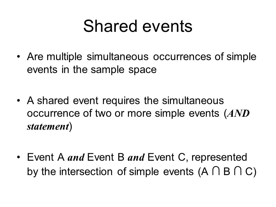 Shared events Are multiple simultaneous occurrences of simple events in the sample space A shared event requires the simultaneous occurrence of two or more simple events ( AND statement ) Event A and Event B and Event C, represented by the intersection of simple events (A ∩ B ∩ C)