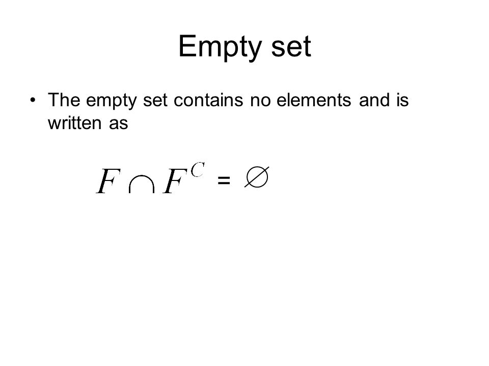 Empty set The empty set contains no elements and is written as =