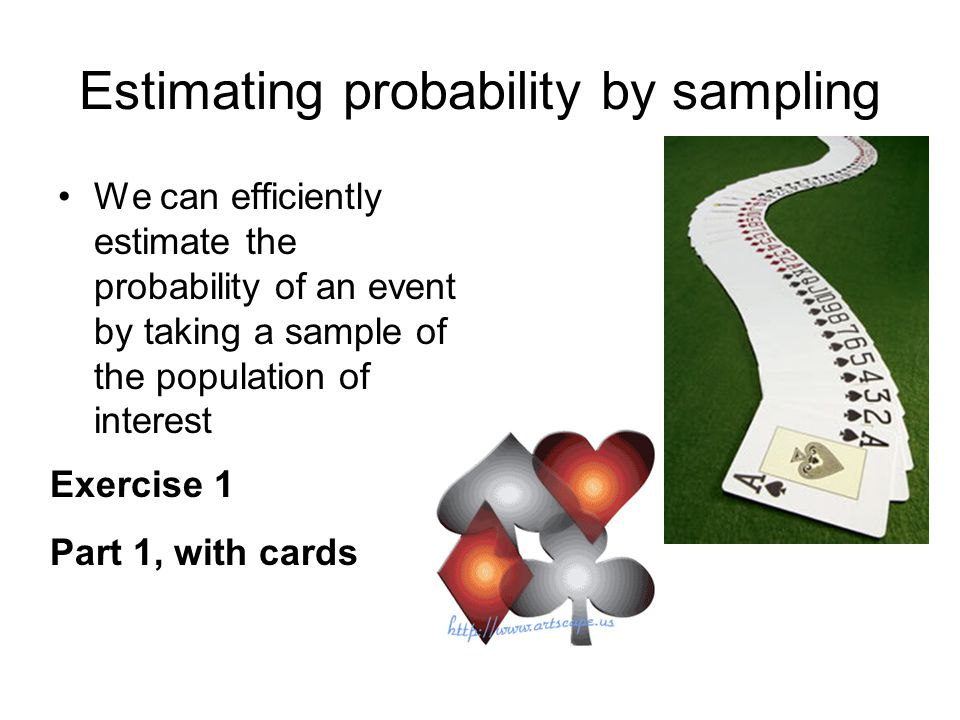 Estimating probability by sampling We can efficiently estimate the probability of an event by taking a sample of the population of interest Exercise 1 Part 1, with cards