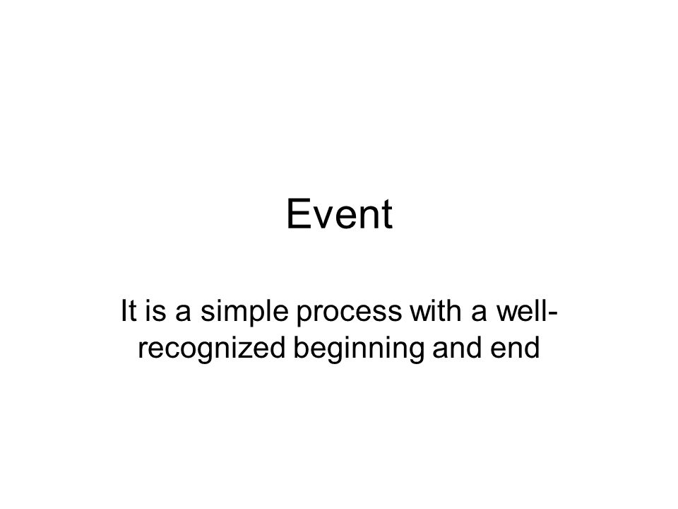 Event It is a simple process with a well- recognized beginning and end