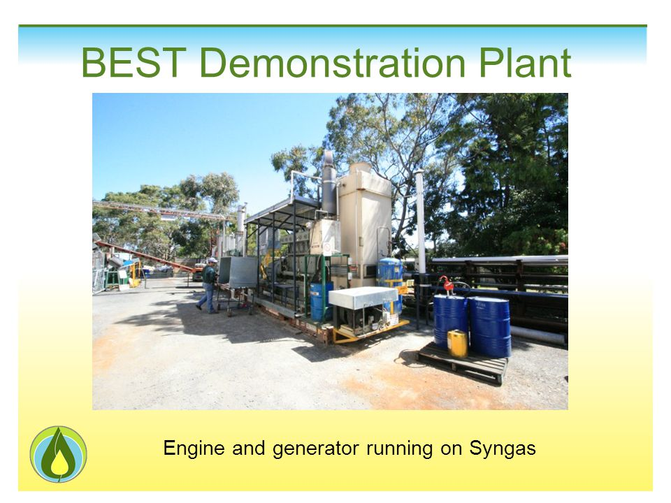 Engine and generator running on Syngas BEST Demonstration Plant