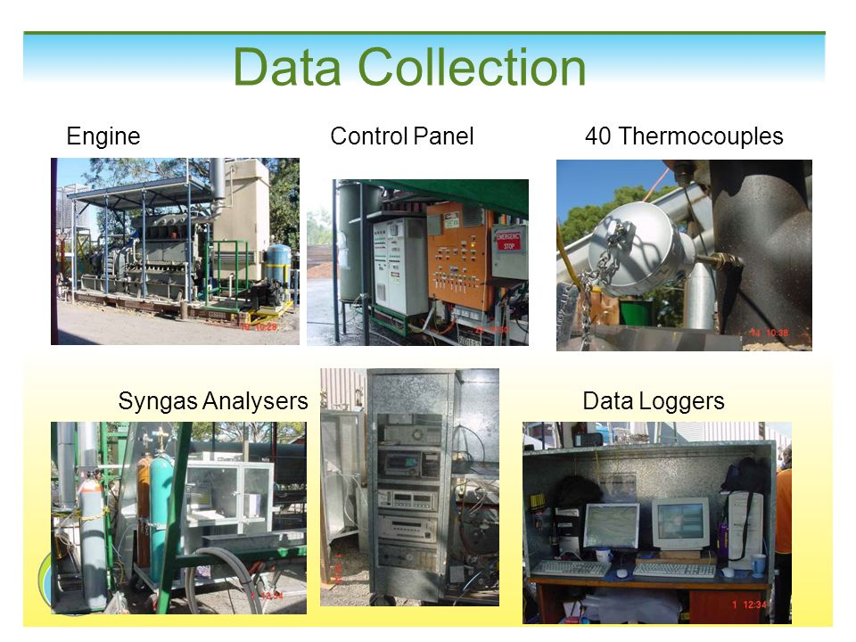 Data Collection Engine Control Panel 40 Thermocouples Syngas Analysers Data Loggers
