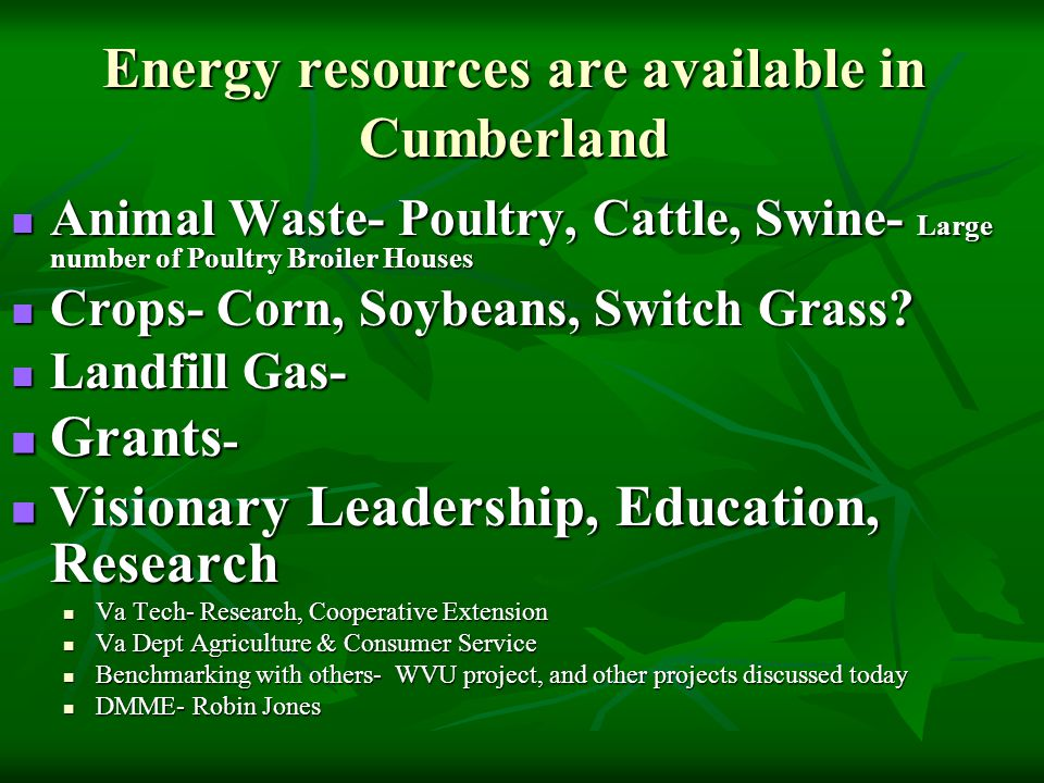 Energy resources are available in Cumberland Animal Waste- Poultry, Cattle, Swine- Large number of Poultry Broiler Houses Animal Waste- Poultry, Cattle, Swine- Large number of Poultry Broiler Houses Crops- Corn, Soybeans, Switch Grass.