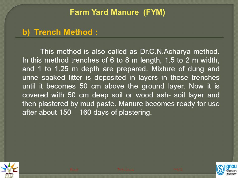 b)Trench Method : This method is also called as Dr.C.N.Acharya method. In this method trenches of 6 to 8 m length, 1.5 to 2 m width, and 1 to 1.25 m d