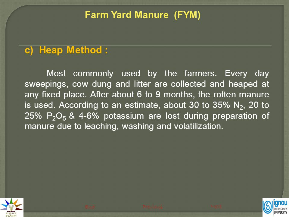 c)Heap Method : Most commonly used by the farmers. Every day sweepings, cow dung and litter are collected and heaped at any fixed place. After about 6