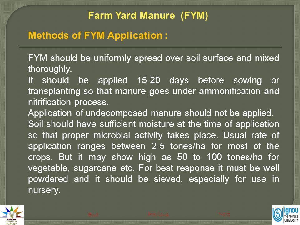 Methods of FYM Application : FYM should be uniformly spread over soil surface and mixed thoroughly.