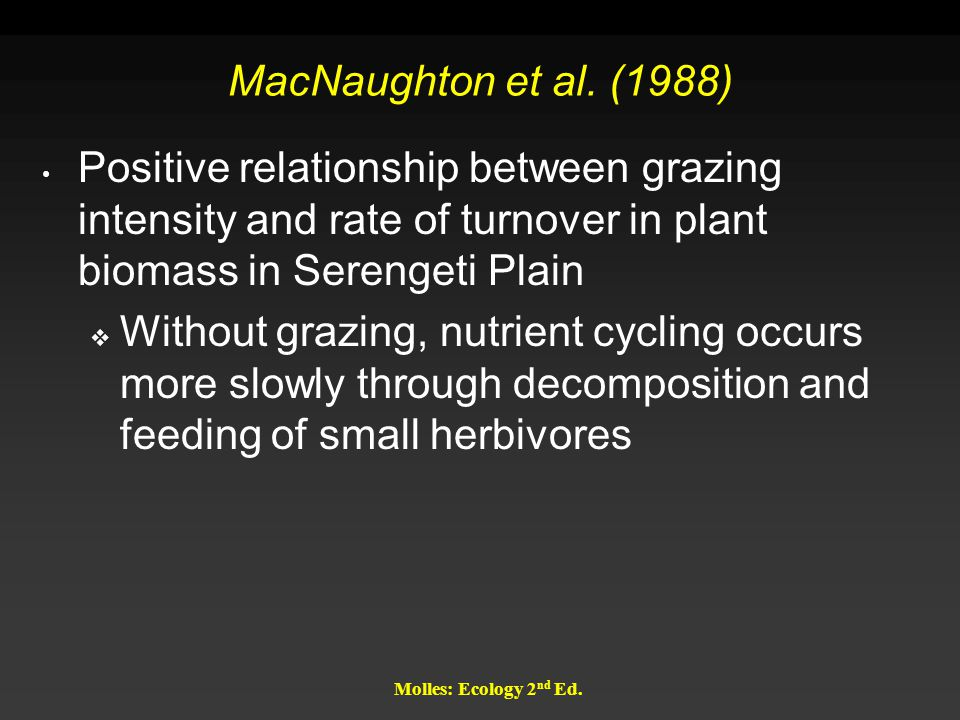 Molles: Ecology 2 nd Ed. MacNaughton et al. (1988) Positive relationship between grazing intensity and rate of turnover in plant biomass in Serengeti