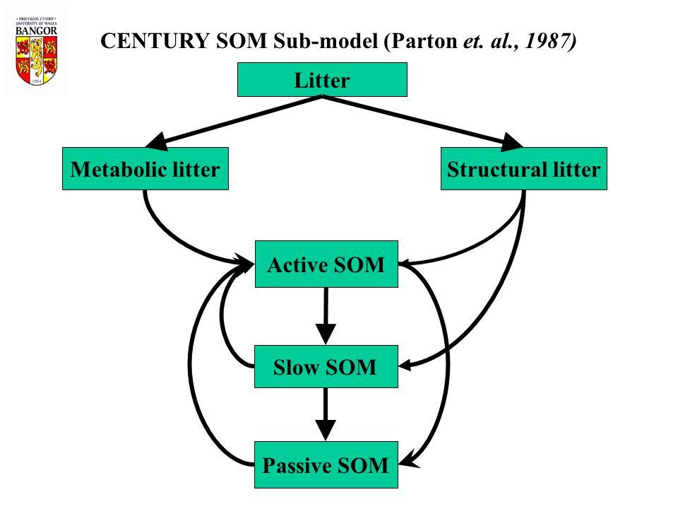Litter Metabolic litterStructural litter Active SOM Slow SOM Passive SOM CENTURY SOM Sub-model (Parton et. al., 1987)