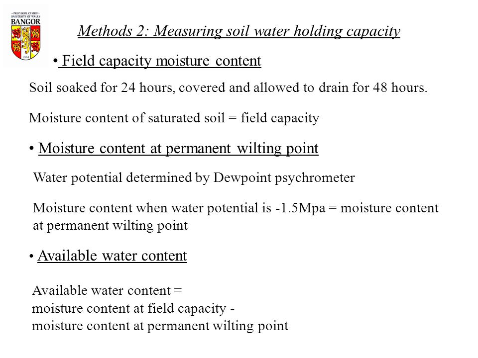 Methods 2: Measuring soil water holding capacity Field capacity moisture content Available water content Soil soaked for 24 hours, covered and allowed to drain for 48 hours.