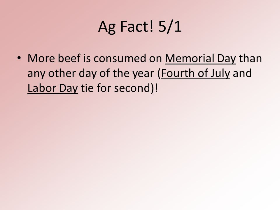 Ag Fact! 5/1 More beef is consumed on Memorial Day than any other day of the year (Fourth of July and Labor Day tie for second)!
