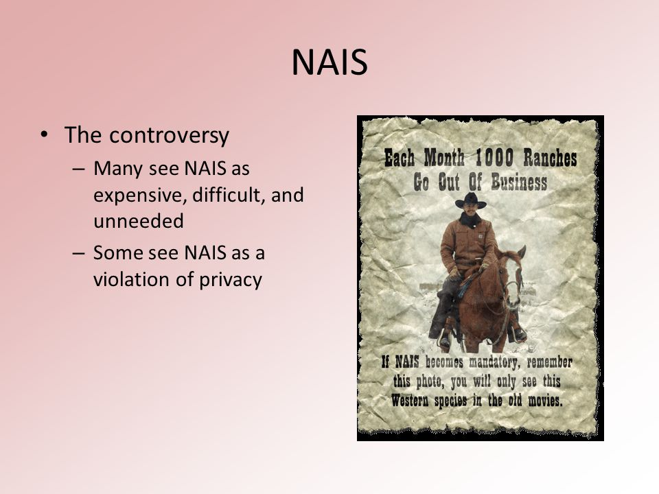 NAIS The controversy – Many see NAIS as expensive, difficult, and unneeded – Some see NAIS as a violation of privacy