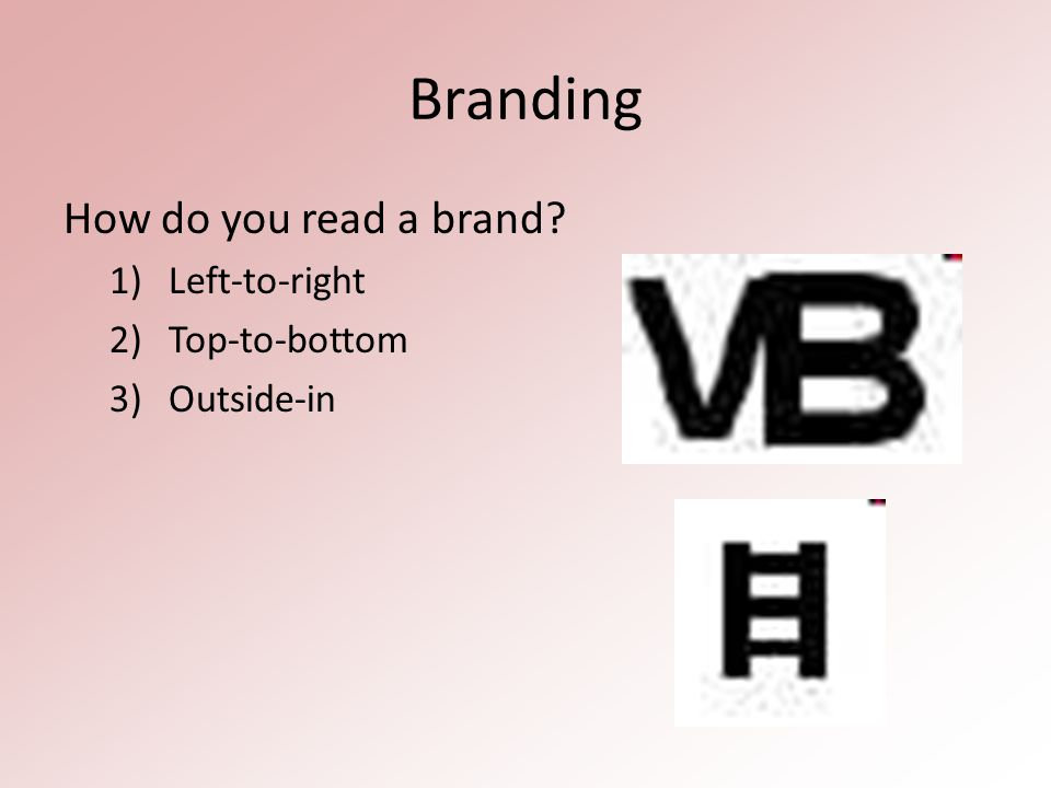 Branding How do you read a brand 1)Left-to-right 2)Top-to-bottom 3)Outside-in