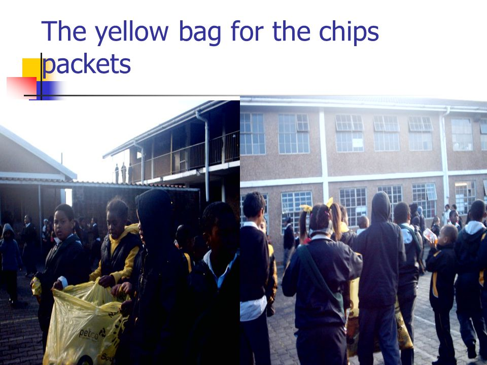 The yellow bag for the chips packets