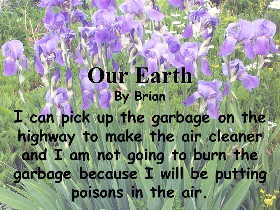 I I can pick up the garbage on the highway to make the air cleaner and I am not going to burn the garbage because I will be putting poisons in the air