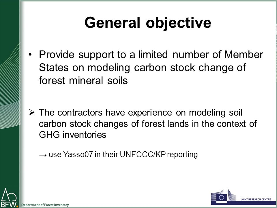 Specific tasks of SC 12 Presentations at JRC LULUCF workshop Set up of a forest soil modeling task force (TF) State of the art on forest soil modelling Preliminary model runs in the selected MS