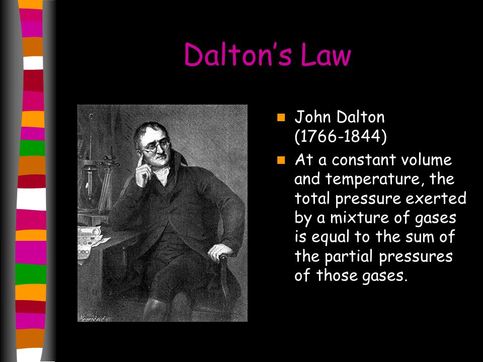 Dalton's Law John Dalton (1766-1844) At a constant volume and temperature, the total pressure exerted by a mixture of gases is equal to the sum of the partial pressures of those gases.