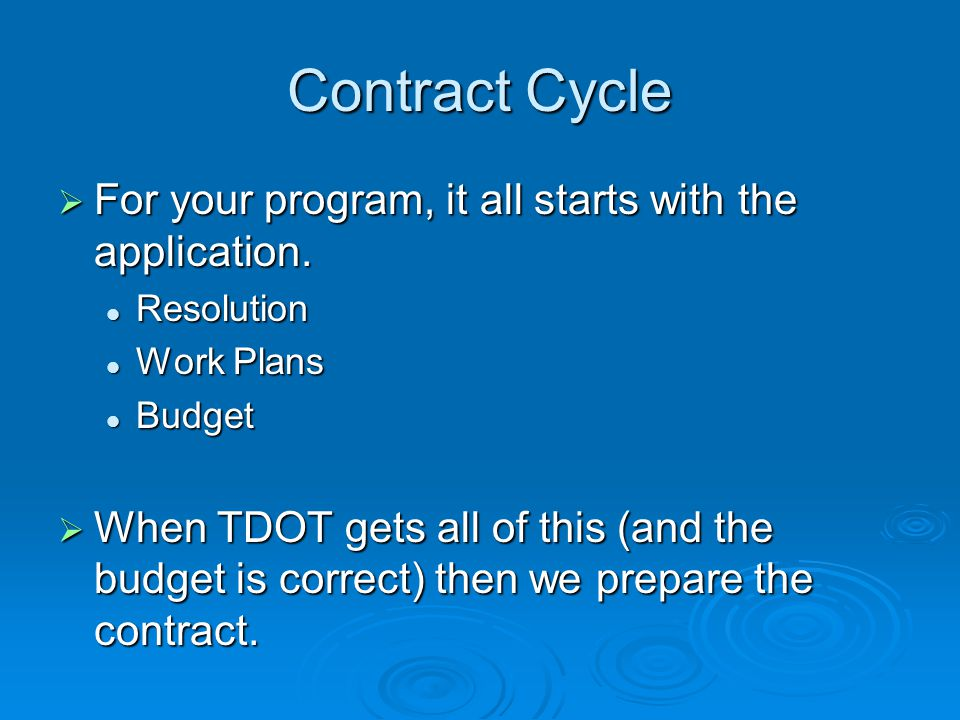 Contract Cycle  For your program, it all starts with the application.