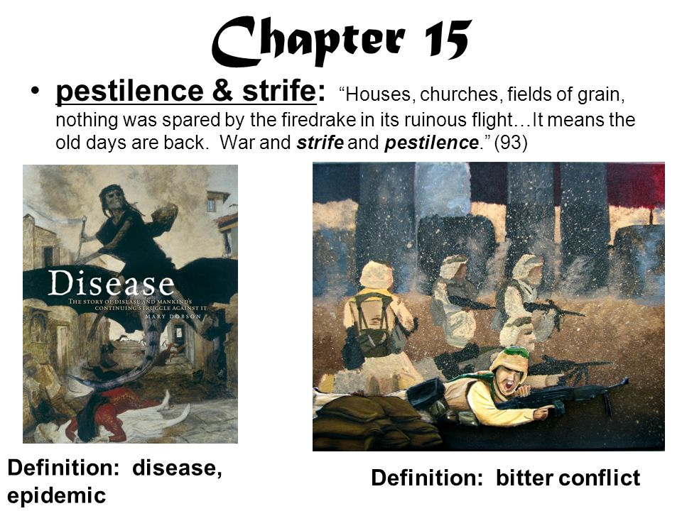 Chapter 15 pestilence & strife: Houses, churches, fields of grain, nothing was spared by the firedrake in its ruinous flight…It means the old days are back.