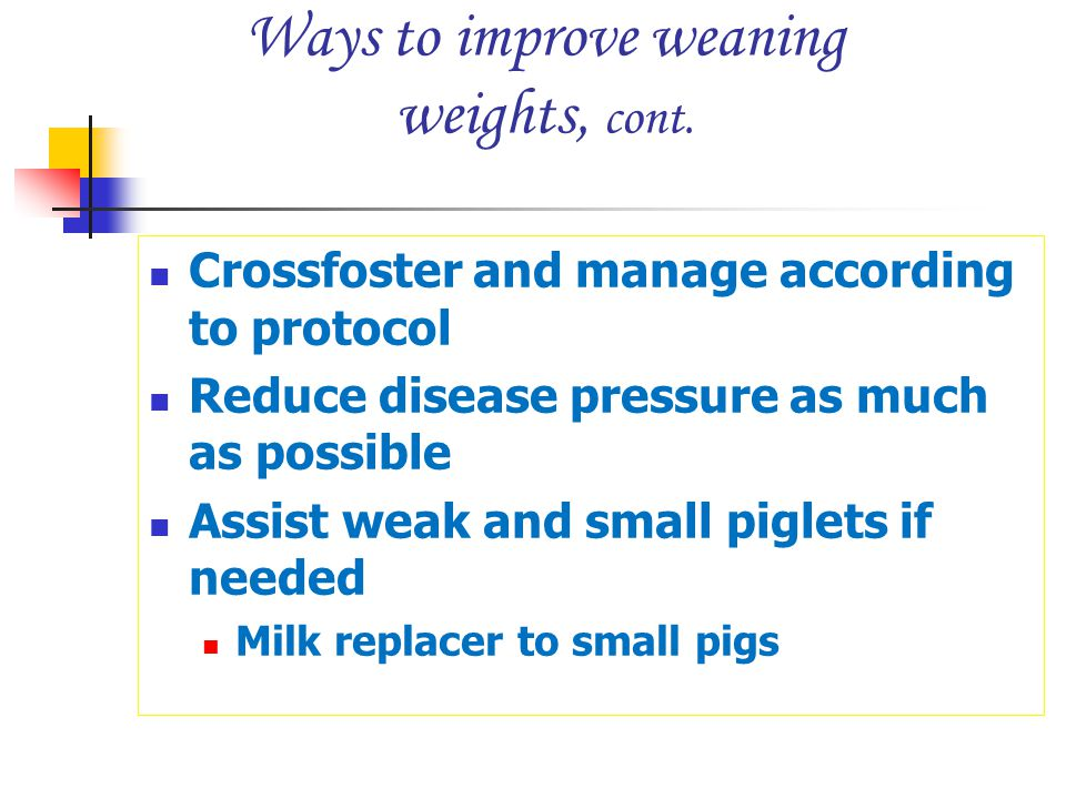 Ways to improve weaning weights, cont. Crossfoster and manage according to protocol Reduce disease pressure as much as possible Assist weak and small