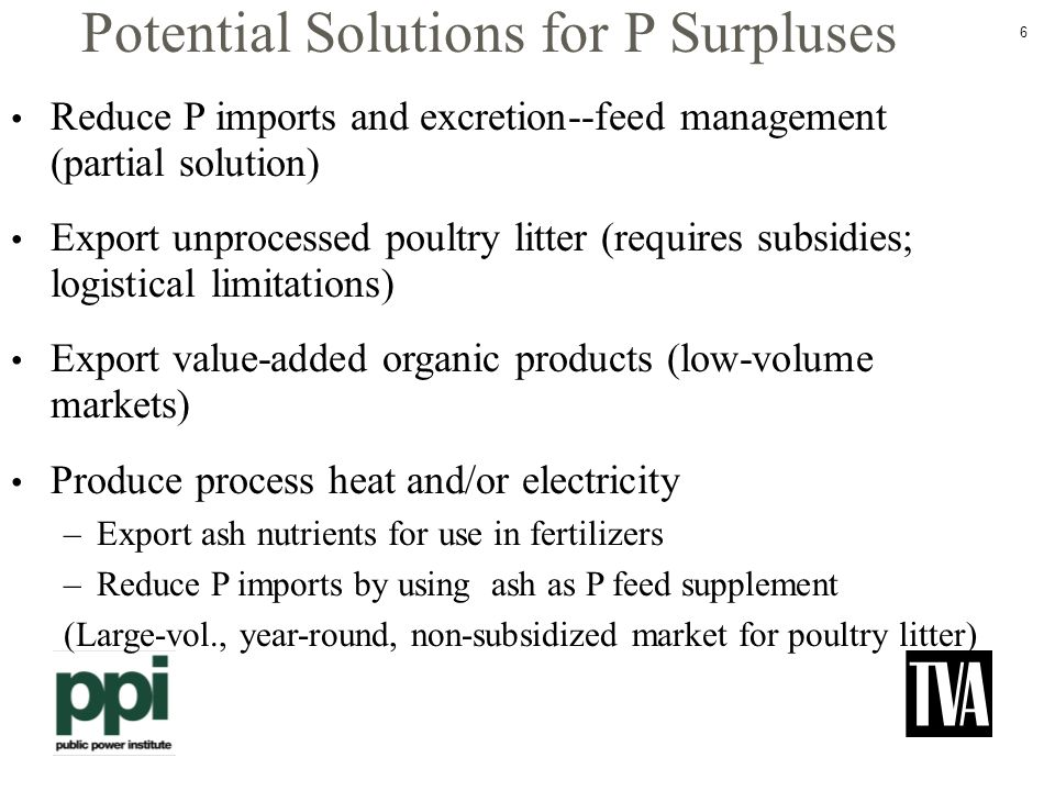 6 Potential Solutions for P Surpluses Reduce P imports and excretion--feed management (partial solution) Export unprocessed poultry litter (requires subsidies; logistical limitations) Export value-added organic products (low-volume markets) Produce process heat and/or electricity –Export ash nutrients for use in fertilizers –Reduce P imports by using ash as P feed supplement (Large-vol., year-round, non-subsidized market for poultry litter)