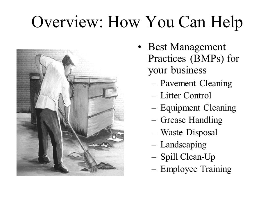 Overview: How You Can Help Best Management Practices (BMPs) for your business –Pavement Cleaning –Litter Control –Equipment Cleaning –Grease Handling –Waste Disposal –Landscaping –Spill Clean-Up –Employee Training