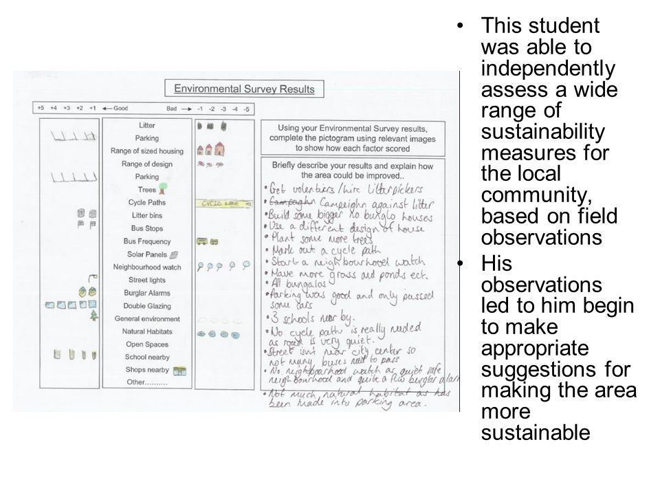 This student was able to independently assess a wide range of sustainability measures for the local community, based on field observations His observa