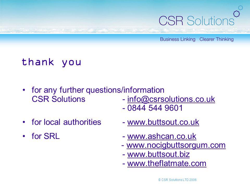 © CSR Solutions LTD 2006 thank you for any further questions/information CSR Solutions - info@csrsolutions.co.uk - 0844 544 9601info@csrsolutions.co.uk for local authorities- www.buttsout.co.ukwww.buttsout.co.uk for SRL - www.ashcan.co.uk - www.nocigbuttsorgum.com - www.buttsout.biz - www.theflatmate.comwww.ashcan.co.ukwww.nocigbuttsorgum.comwww.buttsout.bizwww.theflatmate.com