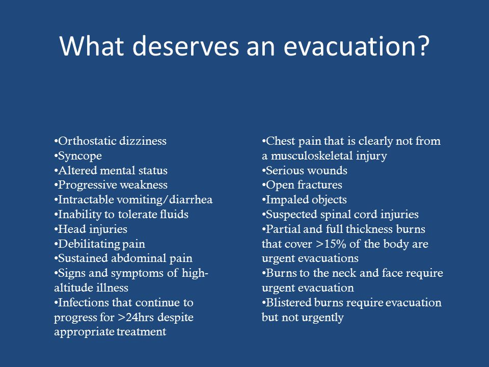 What deserves an evacuation.