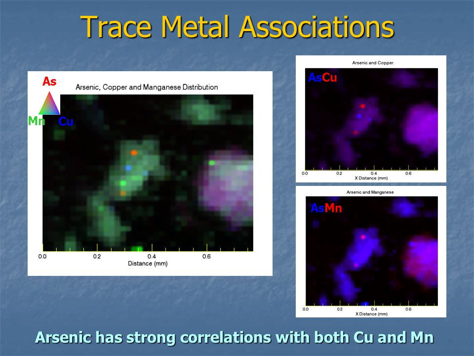 Trace Metal Associations AsCu AsMn Cu Mn As Arsenic has strong correlations with both Cu and Mn