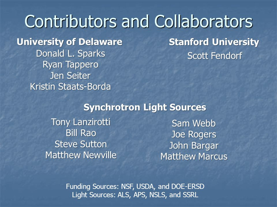 Contributors and Collaborators Funding Sources: NSF, USDA, and DOE-ERSD Light Sources: ALS, APS, NSLS, and SSRL Donald L.