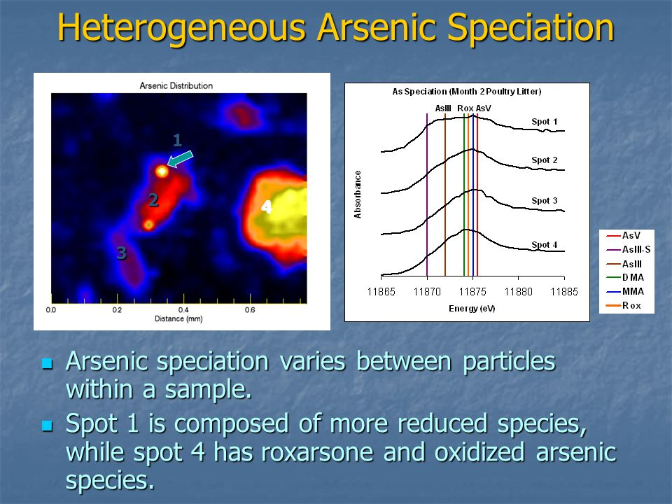 Heterogeneous Arsenic Speciation Arsenic speciation varies between particles within a sample.