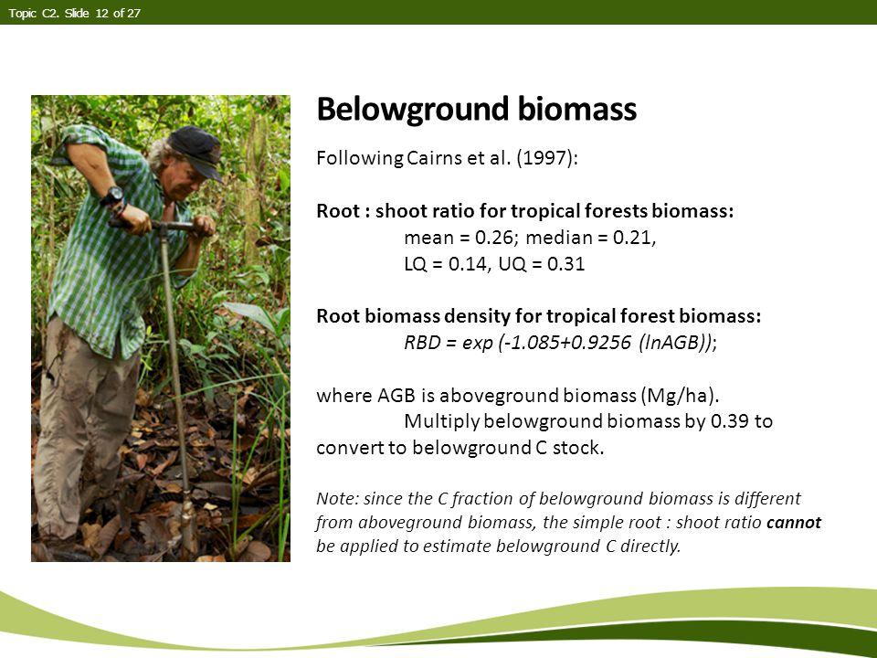 Belowground biomass Topic C2. Slide 12 of 27 Following Cairns et al.