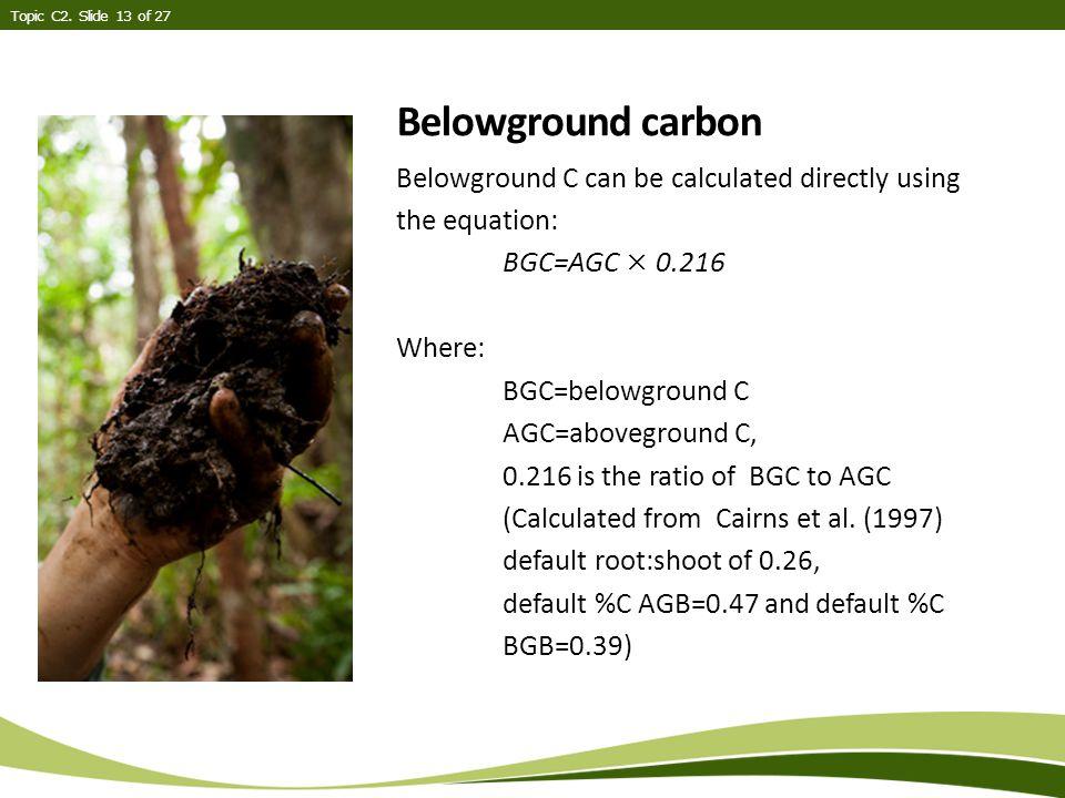 Belowground carbon Topic C2.