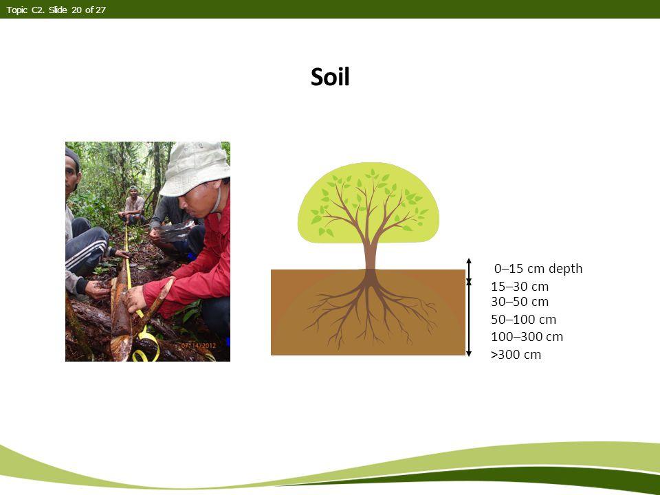 Soil Topic C2. Slide 20 of 27 0–15 cm depth 15–30 cm 30–50 cm 50–100 cm 100–300 cm >300 cm