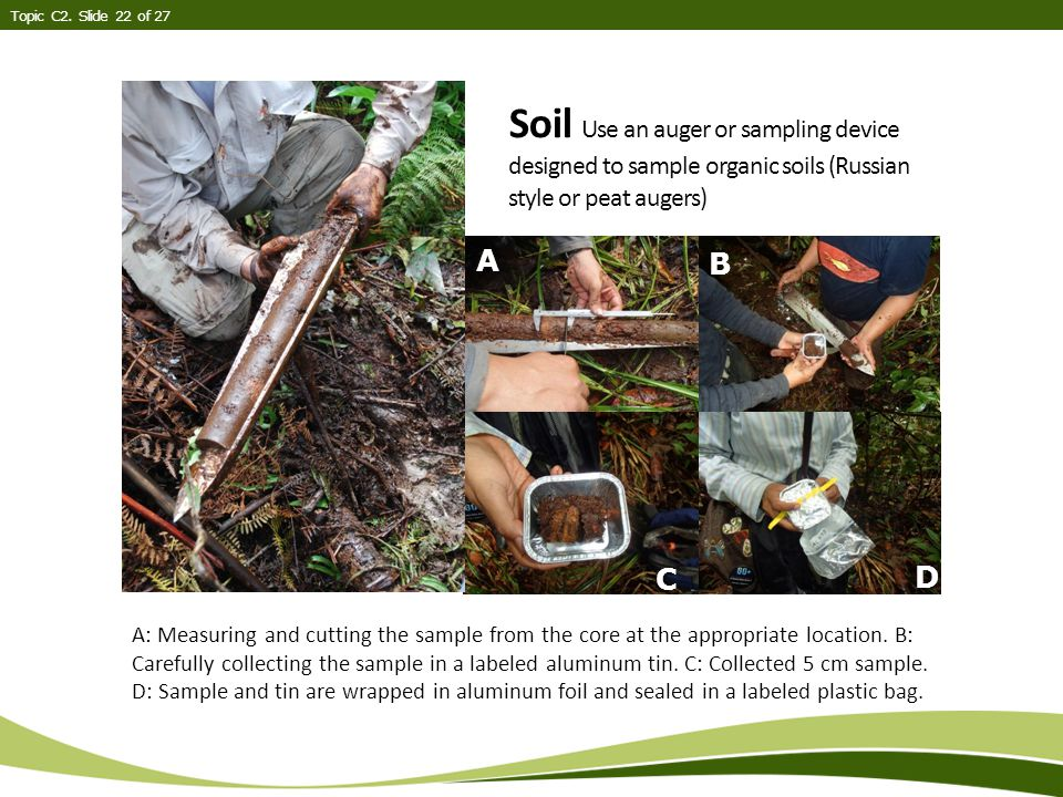 Soil Use an auger or sampling device designed to sample organic soils (Russian style or peat augers) Topic C2.