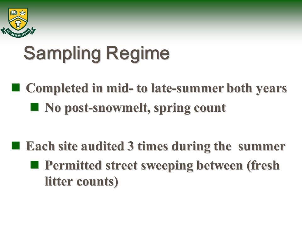 Sampling Regime Completed in mid- to late-summer both years Completed in mid- to late-summer both years No post-snowmelt, spring count No post-snowmelt, spring count Each site audited 3 times during the summer Each site audited 3 times during the summer Permitted street sweeping between (fresh litter counts) Permitted street sweeping between (fresh litter counts)