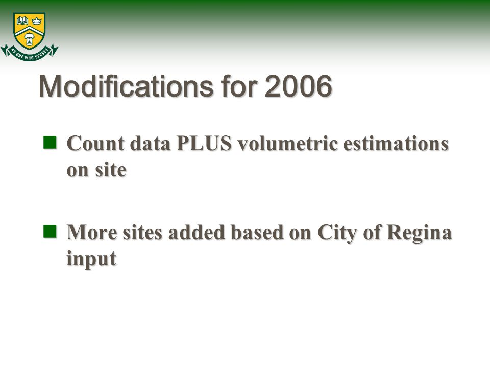 Modifications for 2006 Count data PLUS volumetric estimations on site Count data PLUS volumetric estimations on site More sites added based on City of Regina input More sites added based on City of Regina input