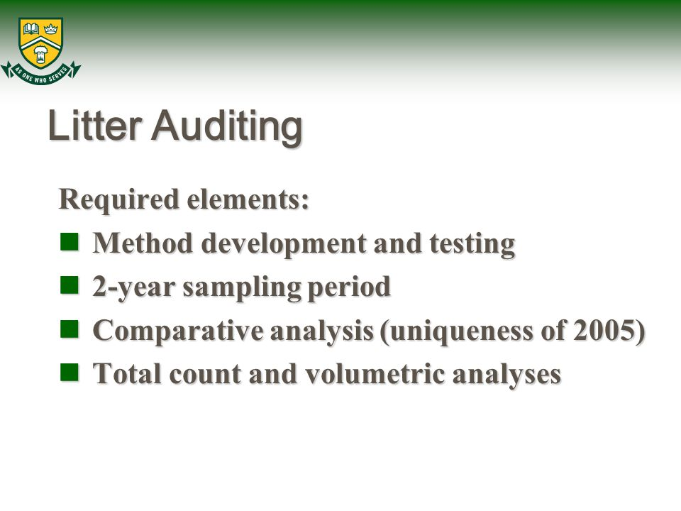 Litter Auditing Required elements: Method development and testing Method development and testing 2-year sampling period 2-year sampling period Compara