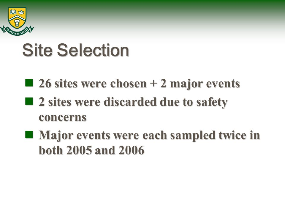 Site Selection 26 sites were chosen + 2 major events 26 sites were chosen + 2 major events 2 sites were discarded due to safety concerns 2 sites were