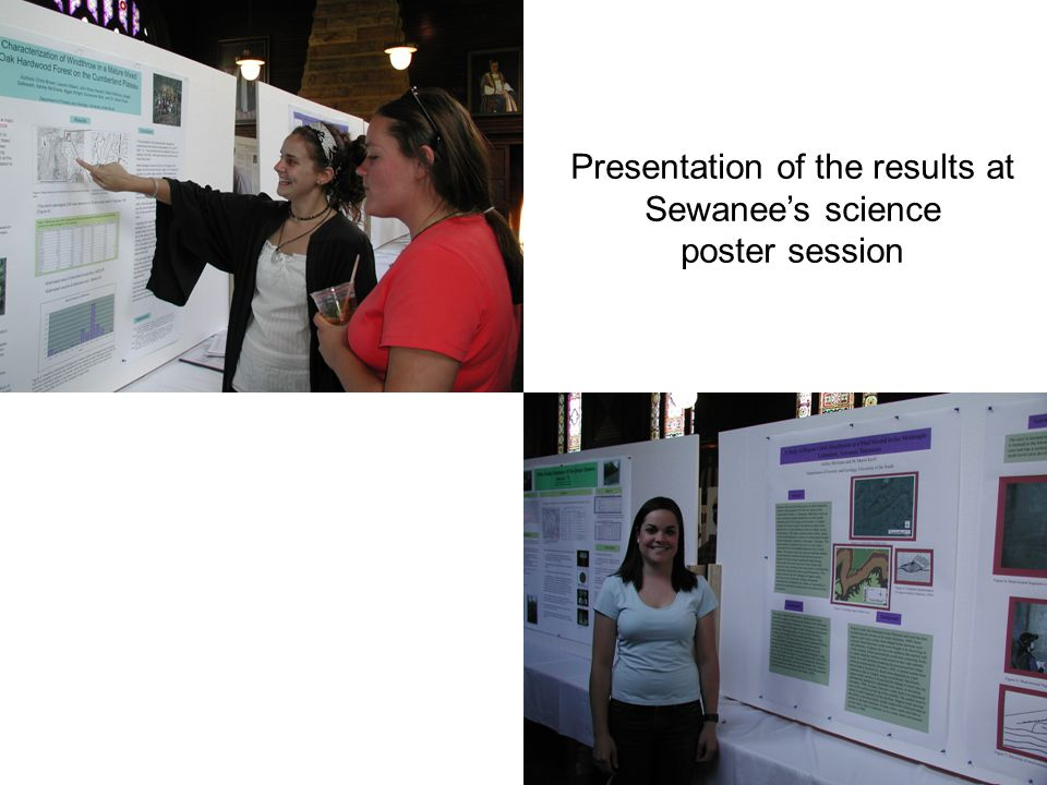 Presentation of the results at Sewanee's science poster session