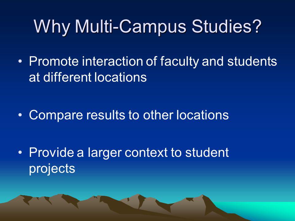Why Multi-Campus Studies.