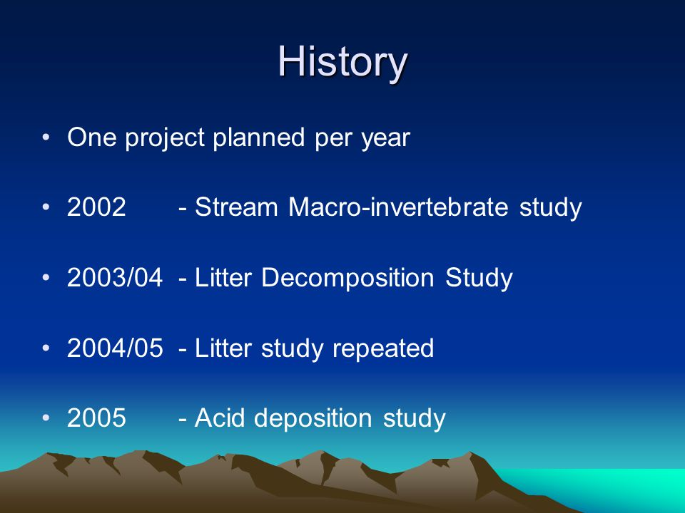History One project planned per year 2002 - Stream Macro-invertebrate study 2003/04 - Litter Decomposition Study 2004/05 - Litter study repeated 2005